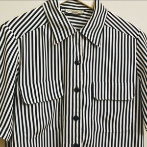 Vintage 80s Notations black striped button down